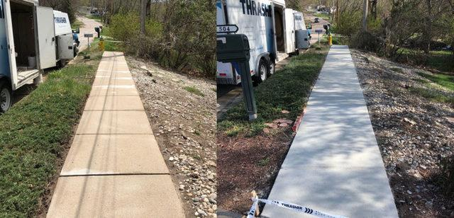 ResurfacePro before and after comparison on sidewalk