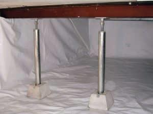 crawl space support jacks and encapsulation