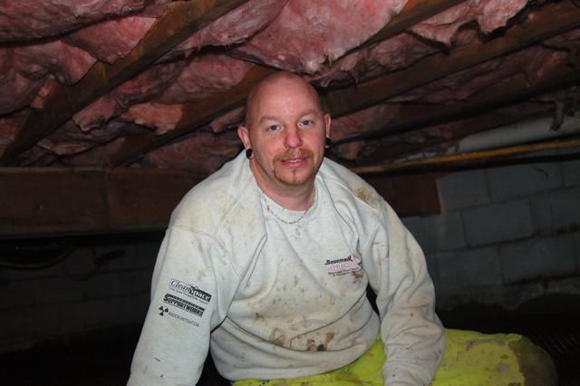 Curtis McGowan works daily in dirty damp crawl spaces and wet basements to provide ocustomers with cleaner, healthier, more comfortable and more energy efficient homes.
