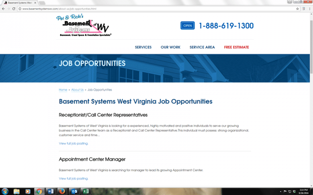Basement Systems of West Virginia is hiring -- and looking for GREAT people to join our growing team....