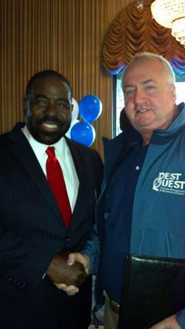 Jim O'Brien meets Les Brown the World's Leading Motivational Speaker at the  Riviera Caterers in Coney Island New York...