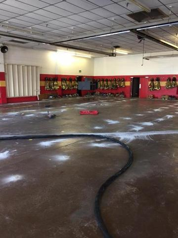 PolyLevel injection in the Georgetown Firehouse to stabilize and lift concrete floors.