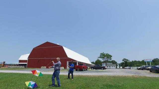 Barry and Harry using team work to fly the kite at the Big Red Barn