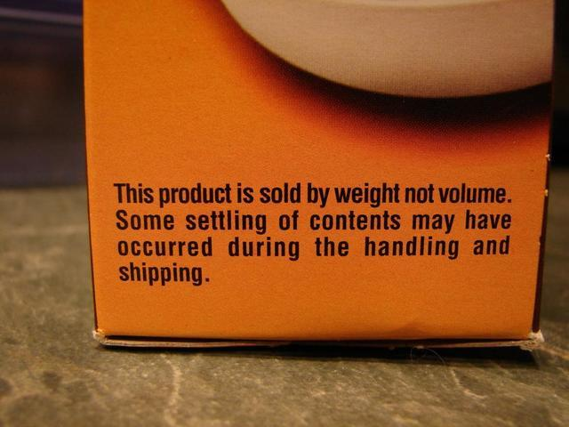 Some settling may occur during handling and shipping