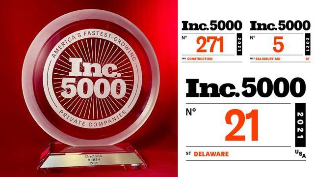 DryZone Makes the Inc. 5000 for 2021!