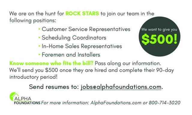 We want to give you $500 for helping us find rock stars to join our team!...