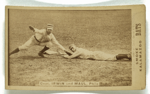 Vintage Baseball Card showing runner at base