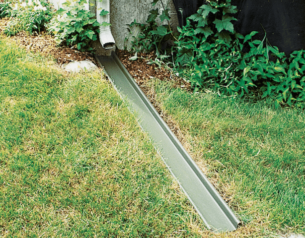 The RainChute downspout extension diverts rainwater away from the foundation