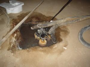 Open dirty sump pump