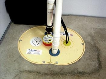 The submersible TripleSafe sump pump system in a basement