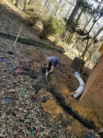 Production Manager Ty sent in this picture of Owner Clint Cooper hand digging the needed holes for a jobsite!! ...