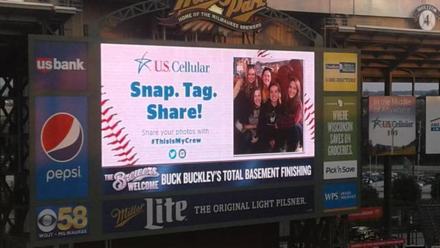 The Brewers Welcomed us on the Jumbo Tron!