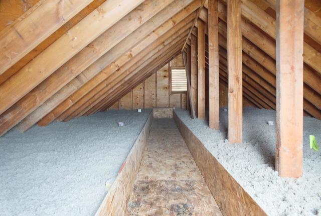Cellulose Blown Insulation in an Attic