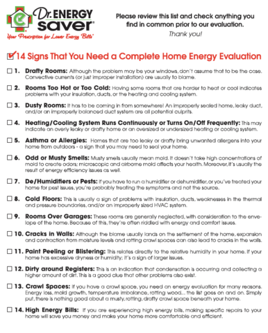 14 signs that you need a compelete home energy evaluation