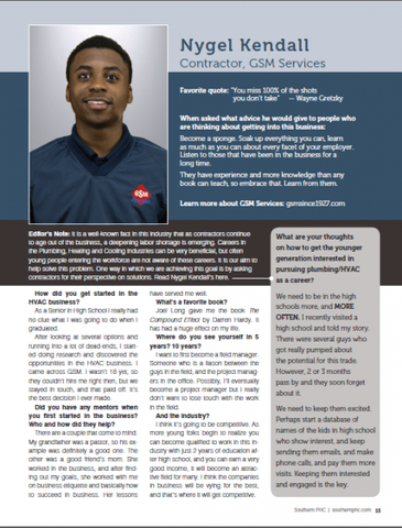 Southern PHC Magazine Interviewed Nygel