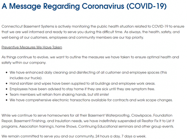 Screenshot of a blog post from Connecticut Basement Systems regarding COVID-19