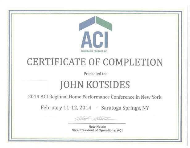 ACI Certificate of Completion