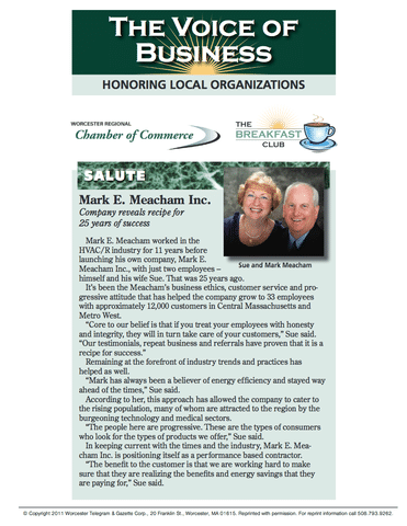 Worcester Regional Chamber of Commerce Salutes Mark E. Meacham for 25 Years...