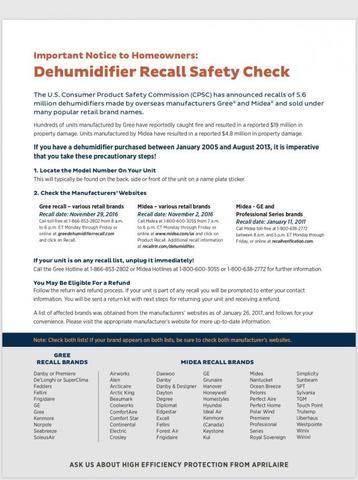 Dehumidifier Recall Alert
