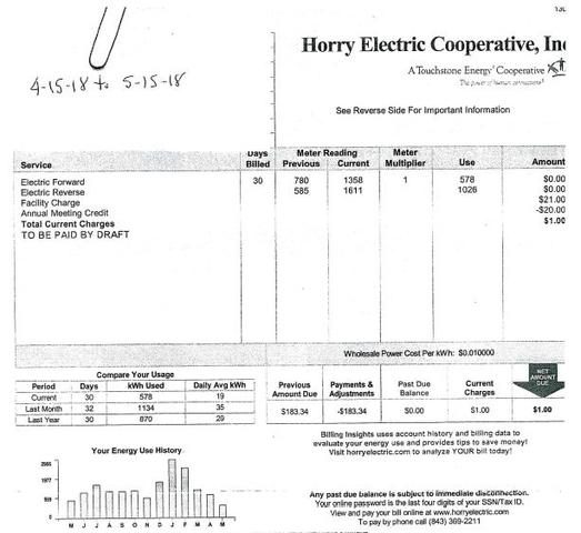 Solar energy is a great way to reduce electric bills! Ron from Myrtle Beach has shown us proof of this...