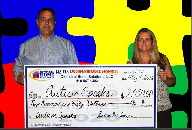 Complete Home Solutions Donates to Autism Speaks