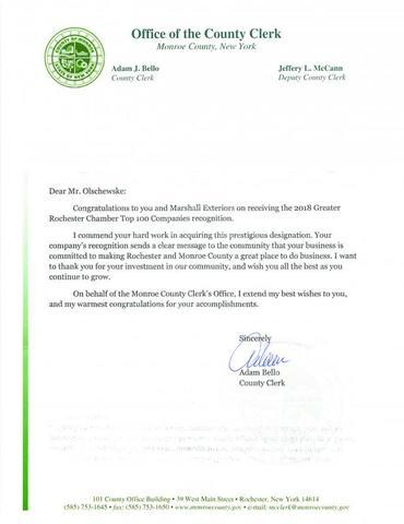 Congratulation letter from Monroe County Clerk...