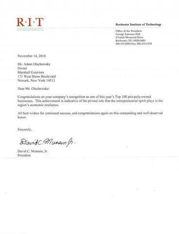 Congratulation letter from RIT...