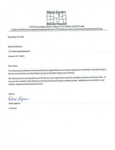 Congratulation letter from Wayne County Business Council...