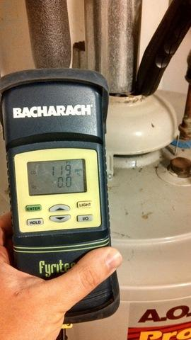 A combustion analyzer can read carbon monoxide levels in your flue pipe