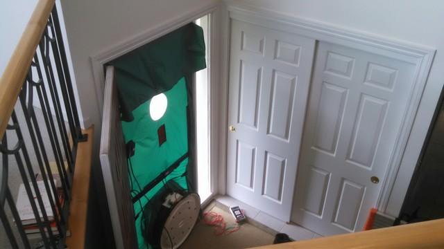 A blower door identifies and quantifies leaks in your home