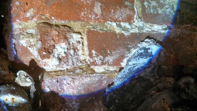 Efflorescence is the mineral deposit left behind by evaporating water in this basement wall.