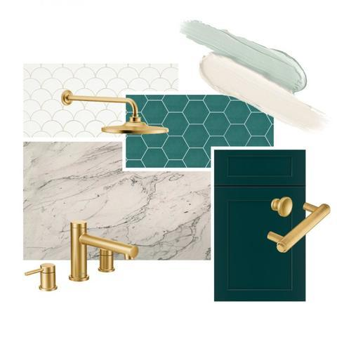 Green and gold deco bathroom design and style for inspiration