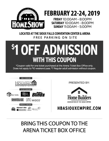 $1 Off Admission 2019 Sioux Empire Home Show