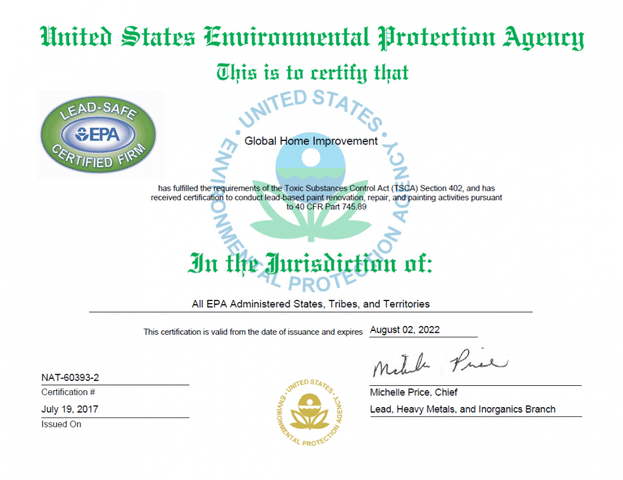 Global Home Improvement Renews our EPA License