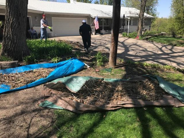 The Trinity team weeded, raked, and maintained the yards of local senior citizens in Minnetonka, MN...