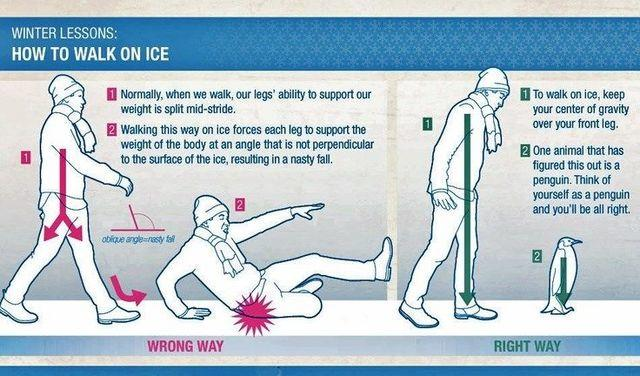 People are already falling on the ice. Here are a few tips to avoid falling...