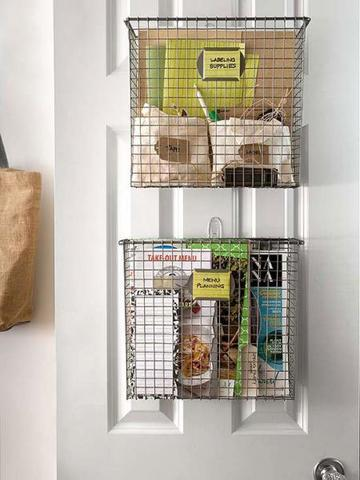 Labeled pantry baskets