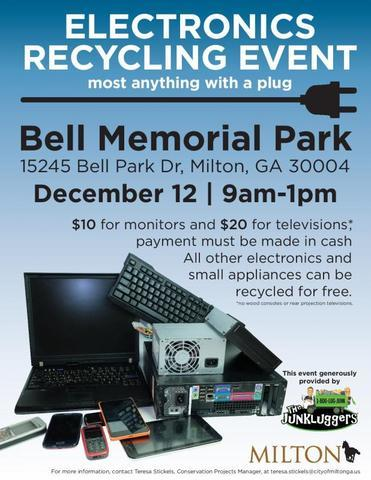 City of Milton/Junkluggers to host Electronics Recycling Event, Dec.12!⁣