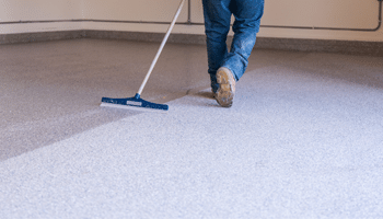 floor coating professionally installed in a garage