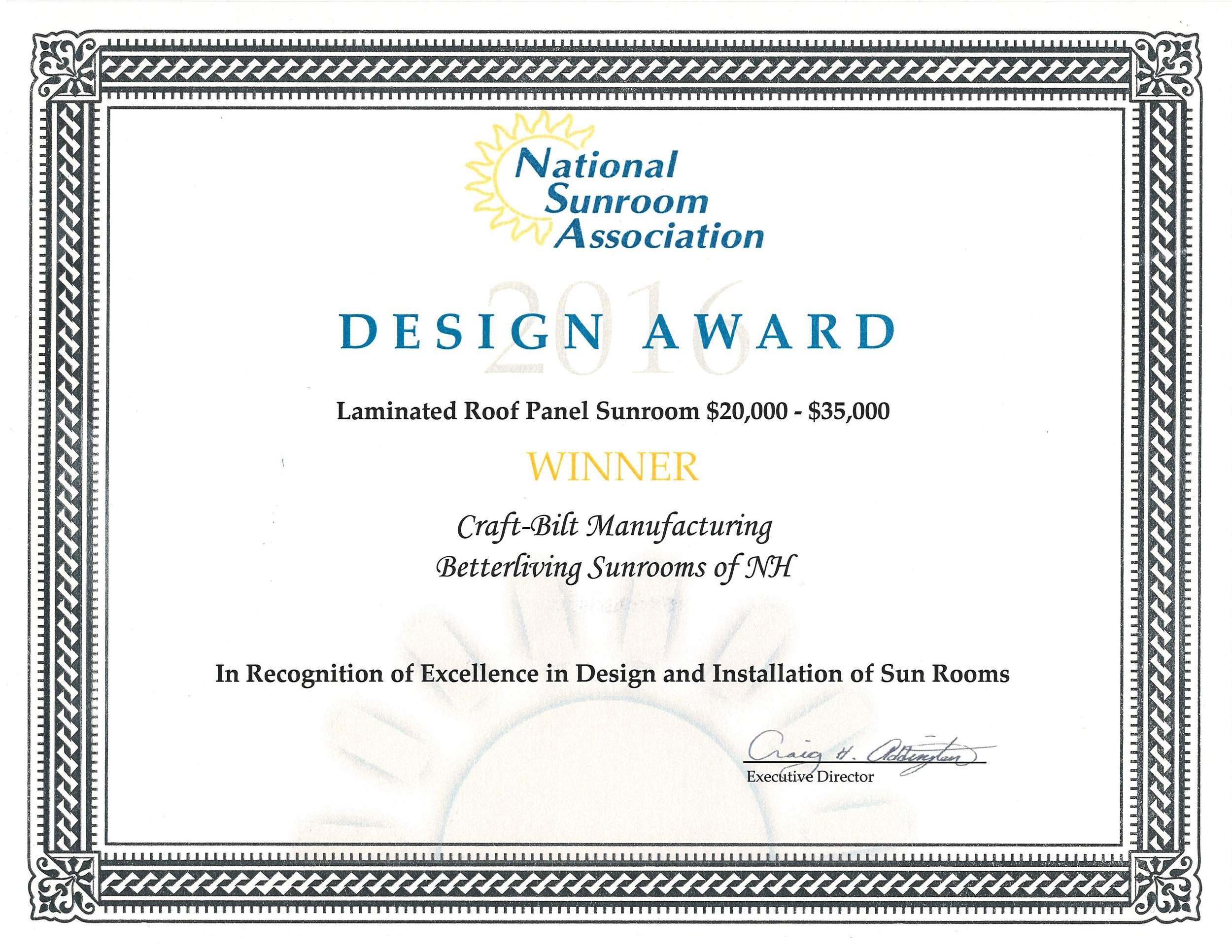 Another Sunroom Design Award