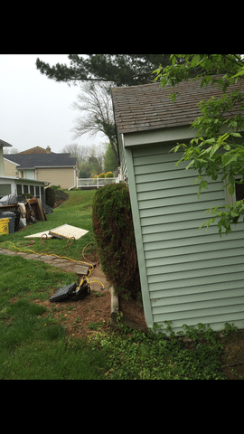 PolyLevel Raised and Stabilized this Sinking Shed in Radnor, PA