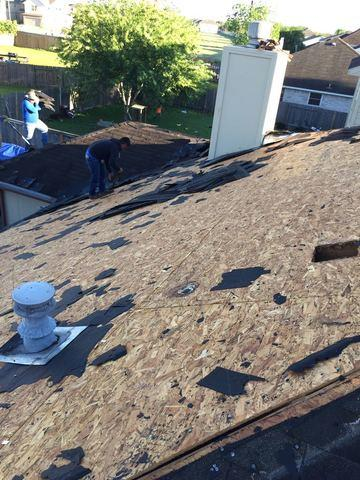 Protecting  an above ground swimming pool while stripping a roof in Cypress...