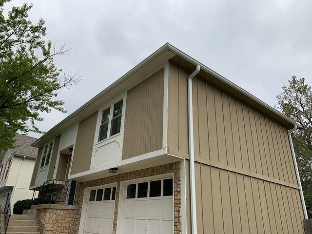 Pearl White 5 Inch Gutters and Downspouts Installed in Olathe, KS