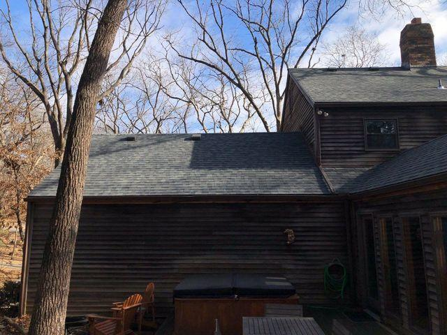 Asphalt Shingle Roof and Gutters Installed on Parkville, MO Home