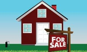Illustration of home with for sale sign