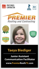 Taeya Biediger from Premier Roofing and Contracting