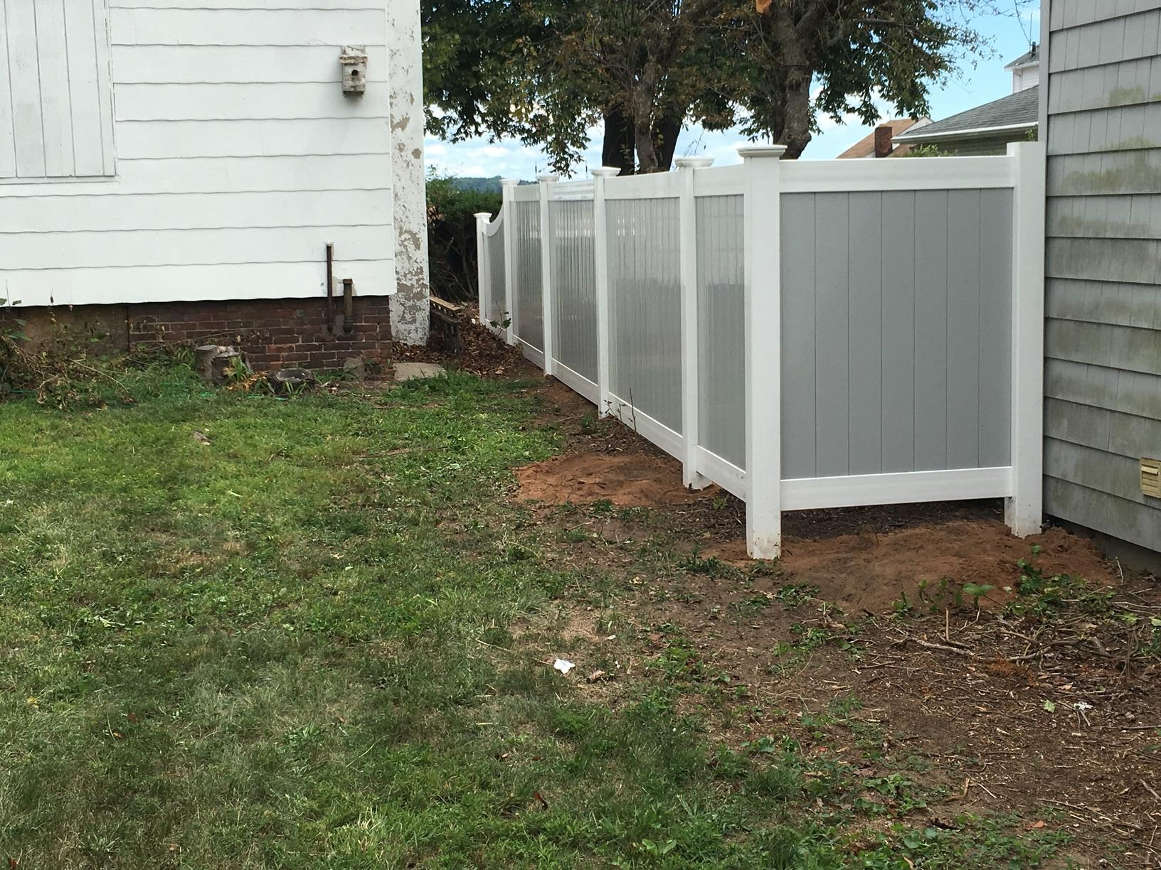 Two Tone Vinyl Fencing Installation in West Haven, CT