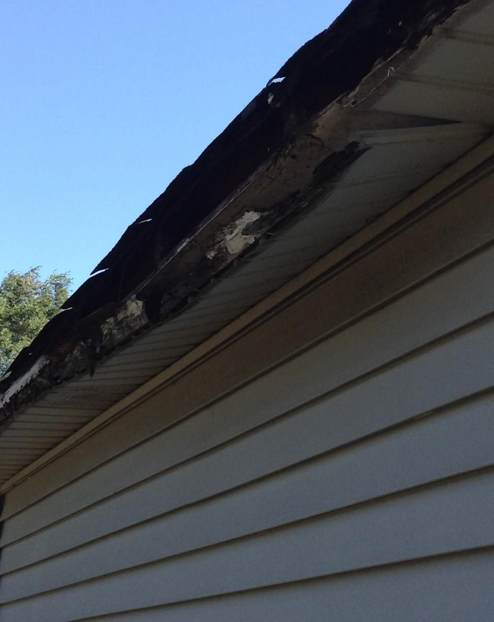 Rotted and missing fascia ans soffit