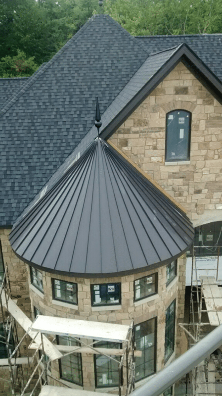 Roof Replacement Standing Seam Metal Roofing Installation On Cone Section And Bell Tower In Brunswick Oh The Metal Roofing After Installation