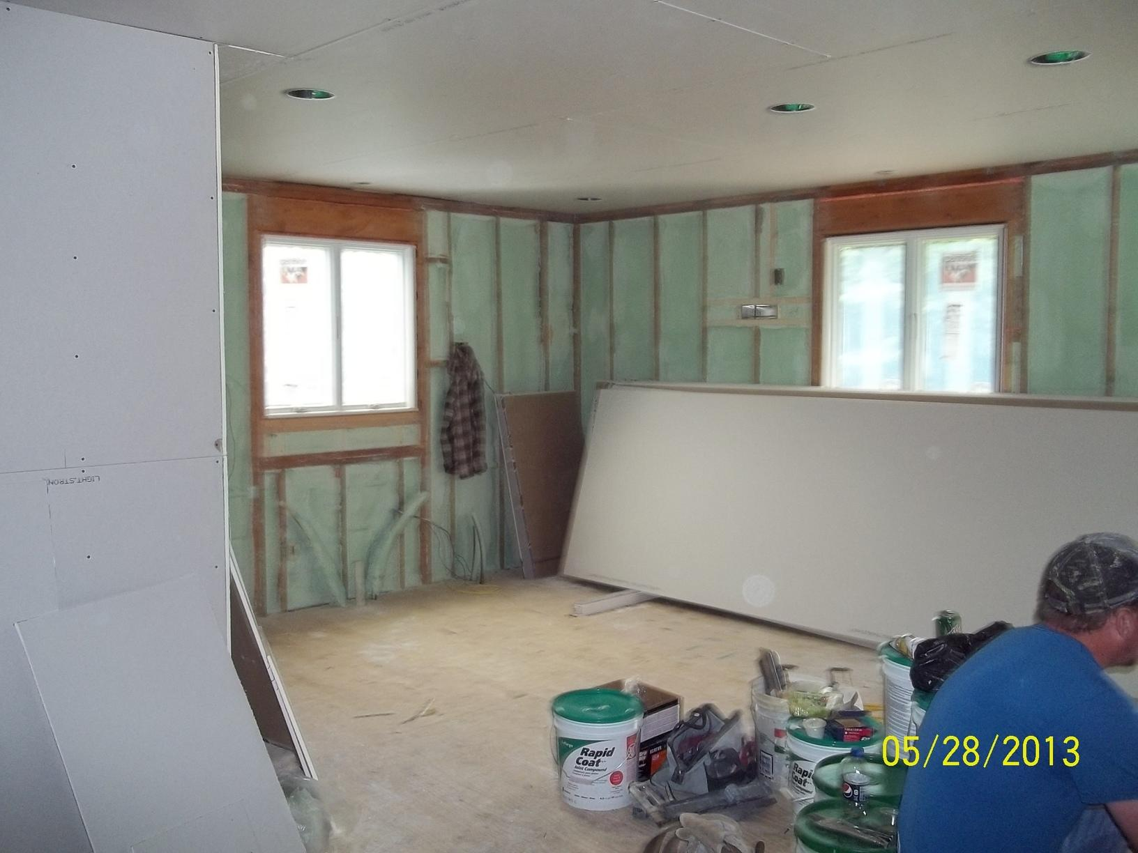 Spray Foam Installed Between Wall Studs